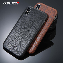 USLION For iPhone 5 5s SE 6 6s 7 8 Plus X Case Crocodile Texture Phone Cases PU Leather Back Cover Coque For iPhone 7 Plus(China)