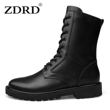 ZDRD New Arrival Men Boots 100% Genuine Leather Army Military Desert Boots Shoes Breathable Men Ankle High Top Motorcycle boots(China)