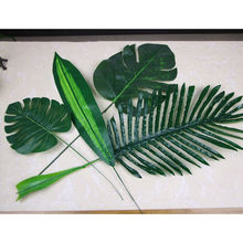 5Piece large Artificial fake Monstera palm tree Leaves green Plastic leaf wedding DIY decoration cheap Flowers arrangement plant(China)