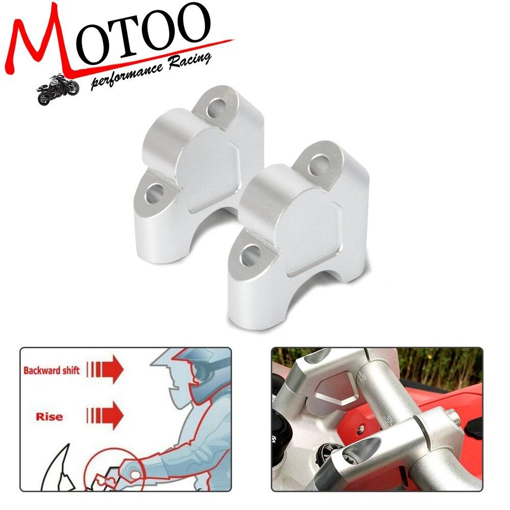 Silver CNC Handlebar Riser Mount Clamp Drag Bar Bracket For BMW R1200GS R1250GS