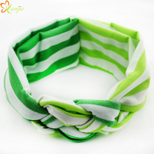 10pcs/lot St Patrick's day Woven Headband For Kids Girl Turban Headband Cotton Striped Head Wrap Headwear Hair Accessories