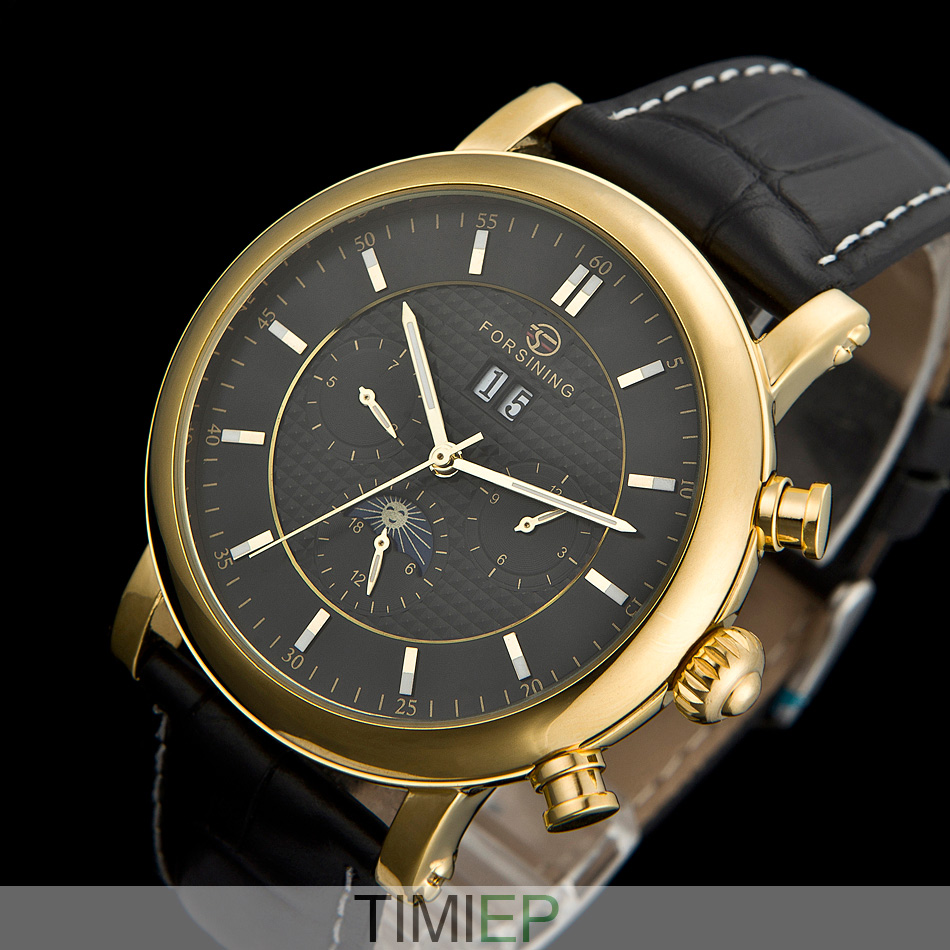 Deluxe quality automatic Tourbillon moon phase Leather Mens Watch  BLACK C1197<br>