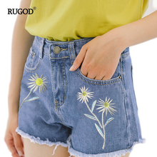 RUGOD Women denim shorts Blue Loose short female Rough Edge Floral Embroidery Fashion Casual Short Jeans floral short pants 2017(China)