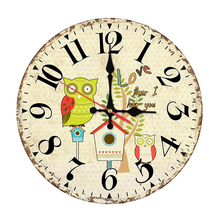 2017 wall clock home decor wooden clocks watch quartz single face still life stickers modern cartoon circular for living room(China)