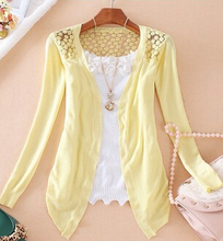 New Summer Fashion Women Lace Sweet candy Color Crochet hollow out Knitwear Blouse Full sleeve Sweater Cardigan  Open Stitch