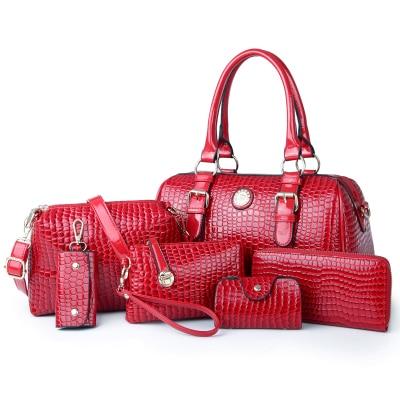 2017 hot selling womens handbag 6 pcs/set pu leather bag shoulder bag cross-body for Crocodile womens messenger bag<br><br>Aliexpress