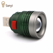 Sanyi USB Handy Powerful LED Flashlight Portable mini zoomable 3 modes Pocket torch lamp lanterna lighing For Hunting camping
