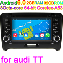 Android Computer for AUDI TT with Octa core HD 1024*600 Touch screen 2 DIN Car DVD GPS Radio stereo 3G GPS USB SWC AUDIO BT DVR(China)