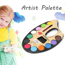 12 Color Professional Artist Palette Paints Set Hand Wall Textile Painting Brush JUN2