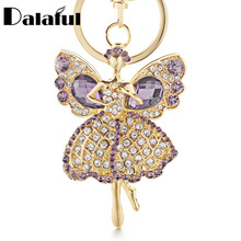 Dalaful Lucky Angel Wings Elves Crystal Keyrings Key Chains Holder Women Gift Fashion Novelty Keychains K244(China)