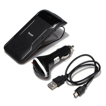 Wireless Bluetooth Handsfree Car Kit Speakerphone Sun Visor Clip 10m Distance For iPhone Smartphones with Car Charger Hands Free