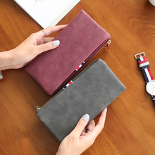 Casual Dull Polish Retro Leather Women Wallet Long Thin Light Clutch Wallets Female Zipper Hasp Handbags Purses Dinner Party Bag(China)