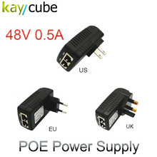 Poe 48V 0.5A Poe Injector EU US UK AU Wall Plug Ethernet Adapter For Ip Camera Power Over Ethernet Injector Switch Power Supply