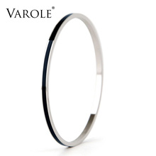 VAROLE 3 CLR. Enamel Top Quality Stainless Steel Bangle Cuff Bracelets Accessories for Women Clothing Accessories Trendy Jewelry(China)