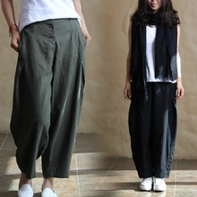 2014 Summer Numb Taste Authentic Linen Trousers  Big Size Harem Loose Baggy Linen Ladies Pants16312