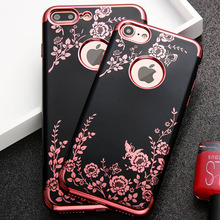 Fashion Flower Phone Cases For iphone 7 6 6s Plus Case Luxury Plating Soft TPU Silicone Cover Elegant Lady Floral Butterfly Capa