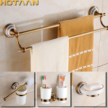 2017 Free shipping,solid brass Bathroom Accessories Set,Robe hook,Paper Holder,Towel Bar,Soap basket,bathroom sets,HT-811500-T