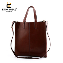 ETONWEAG Brands Cow Leather Luxury Handbags Women Bags Designer Brown Vintage Shopping Bag Big Capacity Travel Laptop Tote Bag