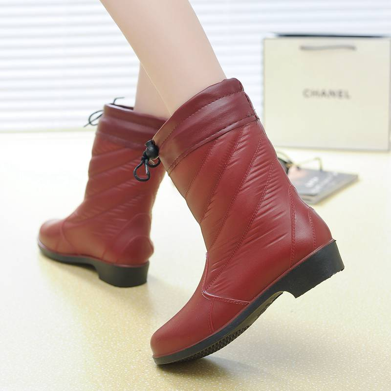 Rain boots warm autumn winter plus velvet shoes rubber rainboots overshoes mid calf boots women<br><br>Aliexpress