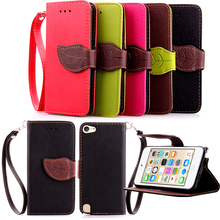 For Apple iPod Touch 6 6th 6G Gen 6 back cover case Genuine Leather lanyard Flip Wallet Leaf Pattern Stand leather case