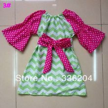 Free Shipping Pink Polka Dot with Peasant Green Chevron Dress Adorned with Big BOW,Cotton Chevron Dress for Girl Custom Boutique