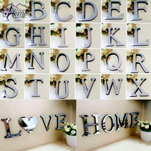 EVA Mirror Acrylic Wall Sticker English Letters DIY Quote Affixed Decal Home Decoration 3D Alphabet Decal Art Mural Wedding(China)