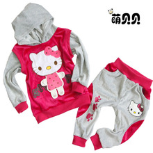 freeshipping baby 2piece suit set tracksuits Girl's Hello Kitty clothing sets velvet children's Sport suits hoody jackets +pants