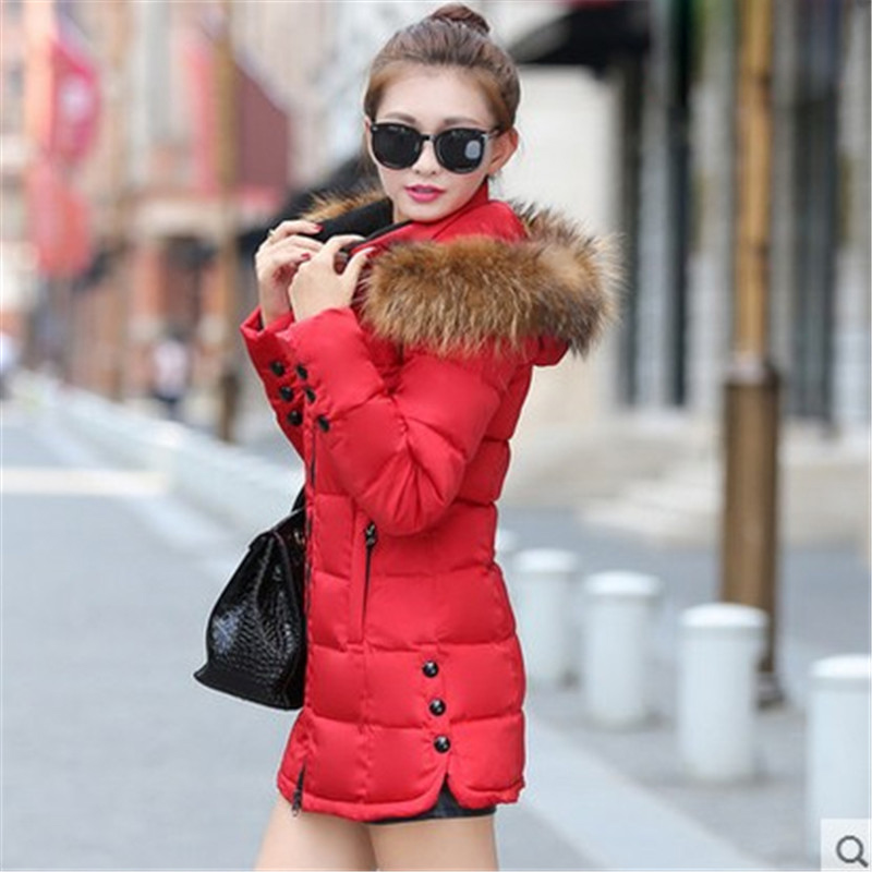 women coat winter 2015 New Female Slim Down Cotton Jacket Hooded Faux Fur Collar Ladies Elegant Coat plus size DX620Одежда и ак�е��уары<br><br><br>Aliexpress