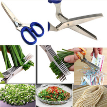 Multifunction scissors Knives multi-blade cut caraway shallot onion paper cuter good helper C89 cooking tools free shipping