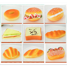 2pcs/lot Squishy bread hotdog sandwich hamburg Artificial Foods toys fake simulated foods home bread shop party decoration gift