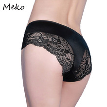 MEKO Sexy Lace Women Panties Seamless Invisible Underwear Tangas Lady Brief Silk Comfort Women's Panties Lingeries Intimates P01(China)