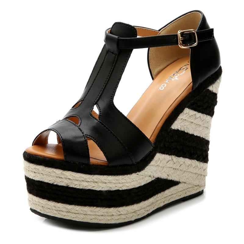 Women Black Pleather Open Toe High Heels Wedges Sandals Shoes, plus size , women sandals 2017 shoes for woman<br><br>Aliexpress
