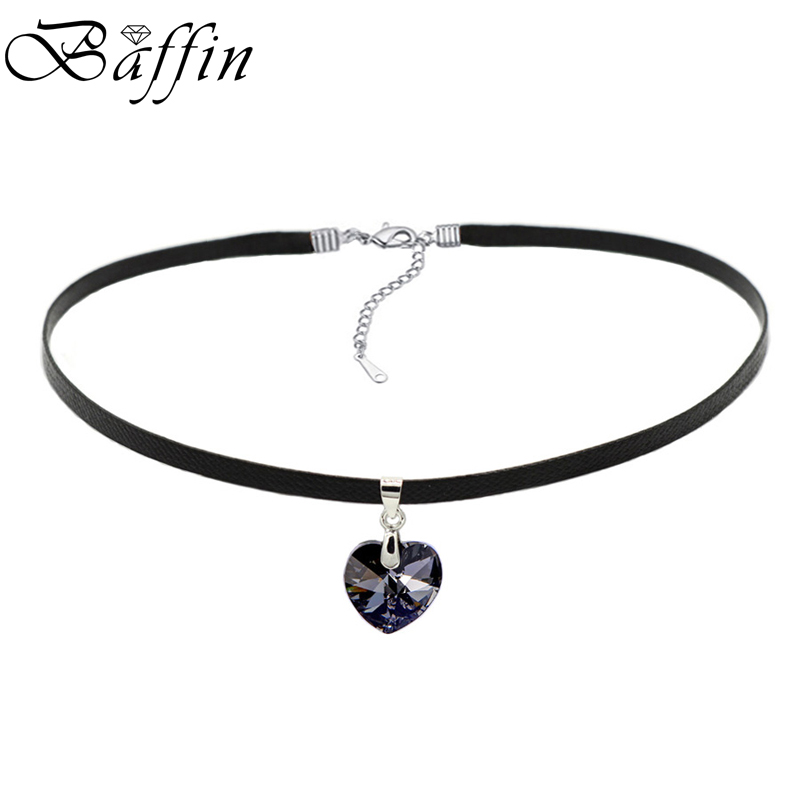 BAFFIN XILION Heart Pendant Choker Necklace Crystals From Swarovski Elements Rope Chain Collier For Women 2017 Vintage Jewelry(China)