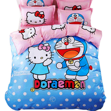 CARA CARLE Hello kitty 4pcs Bedding Set Duvet Cover Bed Sheet Pillowcase Children Kids Cartoon Bed Linen housse de couette queen