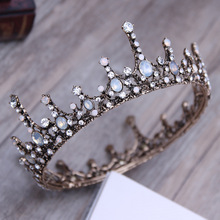 Vintage Wedding Hair Accessories Baroque King Queen Prom Men Crowns Full Round Circle Bridal Hair Jewelry Crystal Tiaras Crowns