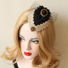 Fashion New bow Vintage aristocratic ladies small hat headdress black hair accessories 2017 sexy headwear