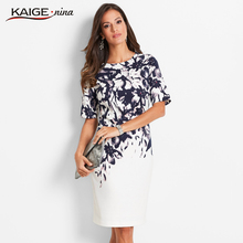 KaigeNina New Fashion Hot Sale Women Flower Natural Simple Printing Cloth O- Neck Mid-Calf  knitting cotton Dress 18006