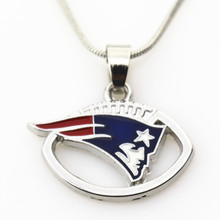 10pcs/lot New England Patriot US Team Football sports necklace pendant Jewelry with snake chain(45+5cm) necklace Charms jewelry(China)