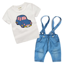 Cartoon cars Baby boys clothes Summer 2017 Children boy Clothing Sets Toddler boy Costume baby 2 pecs t-shirt+pants T6115