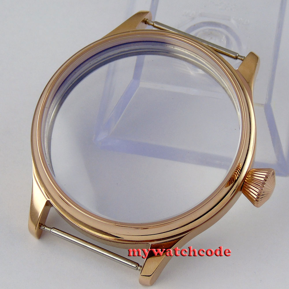 44mm 316L steel screw back rose golden plated CASE fit 6498 6497 movement C36<br>