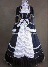 Black and White Cotton Aristocrat Victorian Style Dress Prom Gown Lolita Costume Steampunk Theater Clothing
