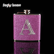 Personalized Glitter leather with rhinestones Monogrammed Letter A-Z wedding gift Stainless Steel Hip Flask Alcohol bottle(China)