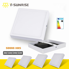 T-SUN LED Surface Downlight Panel 8W 16W 24W 32W Square LED Ceiling Recessed Light with Black Heat Radiator SMD4014 AC85V-265V