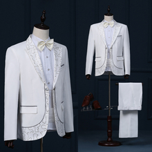 male wedding groom prom coats long jacket white tuexdo Trench dancer singer performance show nightclub magic Outdoors Slim  wear
