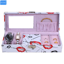 2017 new design special Gift for Women makeup desk case mirror box watch jewelry exhibitor storage collect organizador WBG1090(China)