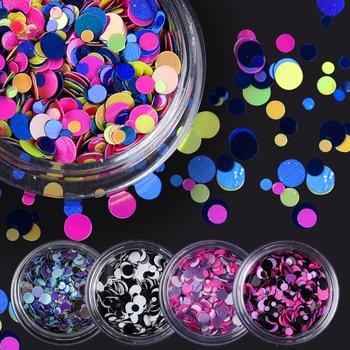 1 Box Colorido Brillante Lentejuelas Uñas Consejos de la Forma Redonda Del Clavo Consejos Glitter 12 Colores Manicura Nail Art Decoraciones