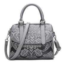 Luxury Women Boston Bags Vintage PU Leather Tote Bag Female Embossed Designer Handbags Crossbody Bags For Women 2017 Sac A Main(China)