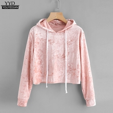 Pink Velvet Hoodies Women Hood 2017 Autumn Sweatshirt Women Long Sleeve Cropped Hoodie Sweatshirt Jumper Pullover Female #915(China)