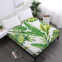 Tropical Green Leaves Sheet Plant Flowers Printed Fitted Sheet King Queen Deep Pocket Bedding Elastic Band Home Decor(China)