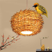 Modern High-quality Hand woven rattan Led Pendant lights,Creative bird nest Hanging lamps restaurant farmhouse Pendant Lamp Deco